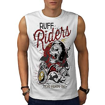 Riders Dead Hands Biker Men WhiteSleeveless T-shirt | Wellcoda