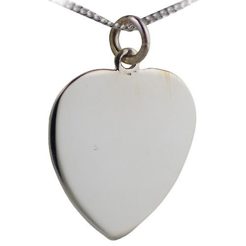 Silver 24x21mm plain Heart Disc with a curb Chain 20 inches