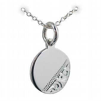 Silver 13mm round hand engraved Disc with a rolo Chain 24 inches