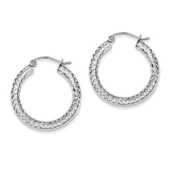 925 Sterling Silver Hollow Round Hoop Earrings - 25mm