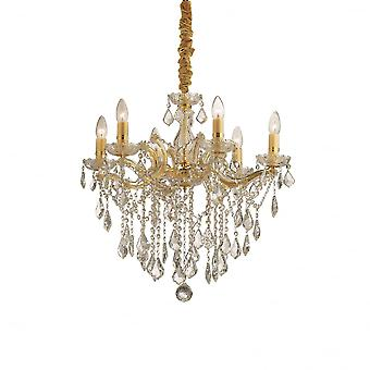 Ideal Lux Florian Gold And Clear Crystal Chandelier, 6 Bulbs