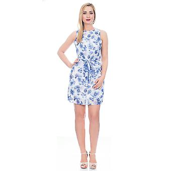 Bliss by Martildo, Ladies Elegant Short Floral Dress, White and Blue, Small (UK 8)