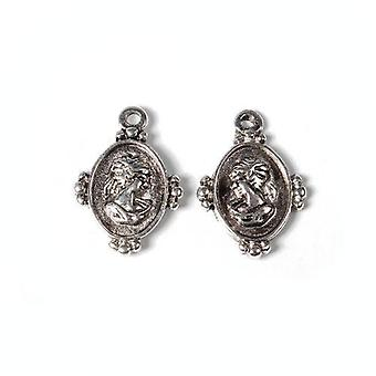 Packet 12 x Antique Silver Tibetan 22mm Cameo Charm/Pendant ZX14050