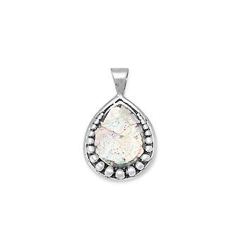 Pingente de prata esterlina pera forma vidro Roman antigo com o charme do Design do grânulo