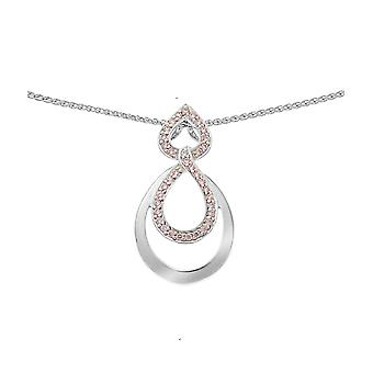 Orphelia Silver 925 Chain With Pendant Double Drop Pink Zirconium  ZH-7092