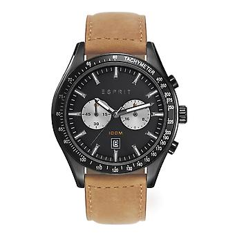 ESPRIT mens watch wristwatch, Ryan leather Chrono ES108241004