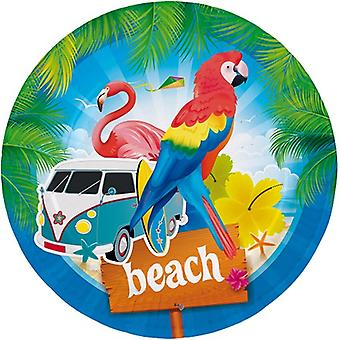 Party plate plate plate Flamingo Beach Party birthday diameter 23 cm 8pcs