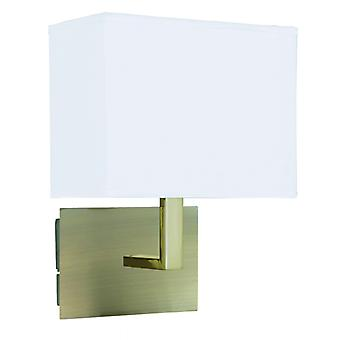 Wall Light Antique Brass - Whte Rectangle Shade