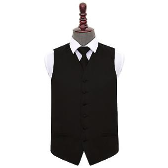 Black Plain Satin Wedding Waistcoat & Tie Set