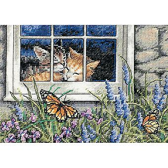 Gold Petite Feline Love Counted Cross Stitch Kit-7