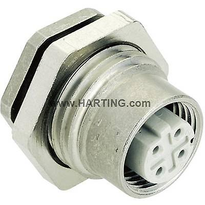 Harting 21 03 381 6410 Sensor actuator built-in connector M12 PCB socket, mount No. of pins (RJ)  4 1 pc(s)