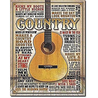 Country Music Large Metal Sign 400Mm X 300Mm