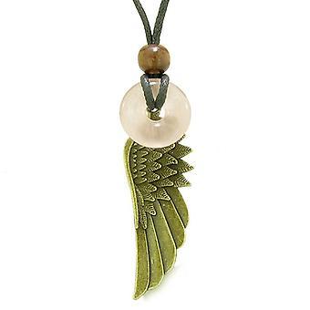 Guardian Angel Wing Protection Magic Powers Amulet Lucky Donut Charm Rose Quartz Pendant Necklace