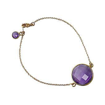 Gemshine - ladies - bracelet - gold plated - Amethyst - purple - violet - faceted - 19 cm