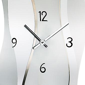 AMS wall clock 7246 quartz with pendulum satin and printed mineral glass