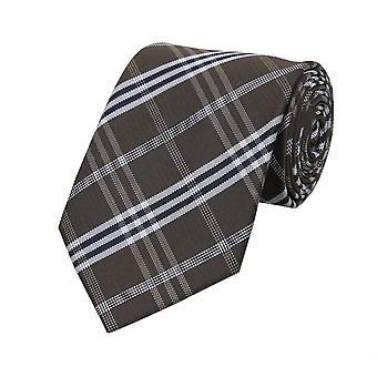 Tie tie tie tie 8cm brown white checkered Fabio Farini