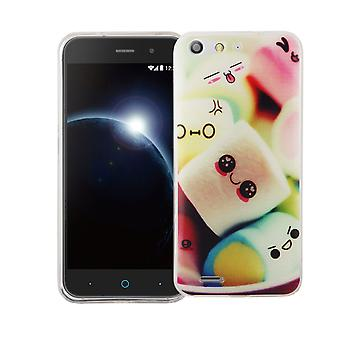 Cell phone case for ZTE blade V6 cover case protective bag motif slim silicone TPU lettering marshmallows