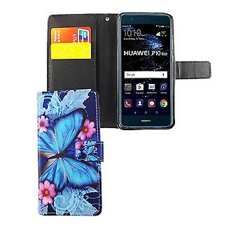 Cell phone cover case for mobile Huawei P10 Lite blue butterfly