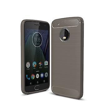 Motorola Moto G5 mais óptica de fibra de carbono caso TPU escovado cinza de capa de proteção