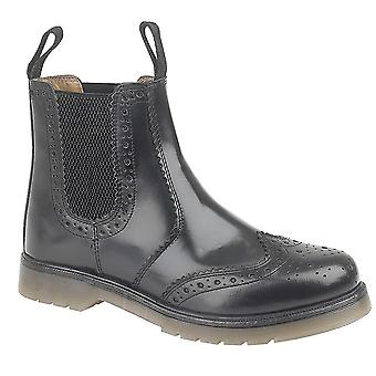 Mens Leather Twin Gusset Slip On Dealer Chelsea Brogues Ankle Boots Shoes