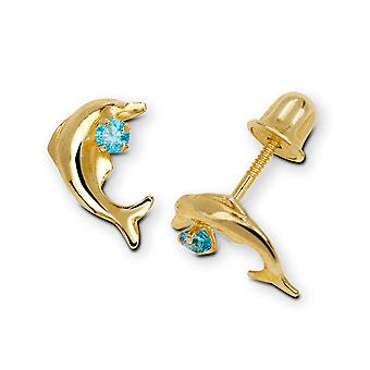 14k Yellow Gold Blue Cubic Zirconia Dolphin Shaped Screw-Back Earrings - Measures 9x6mm