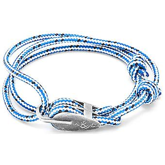 Anchor and Crew Tyne Silver and Rope Bracelet - Blue Dash