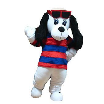 mascot SPOTSOUND of dog white and black, with a sweater with stripes