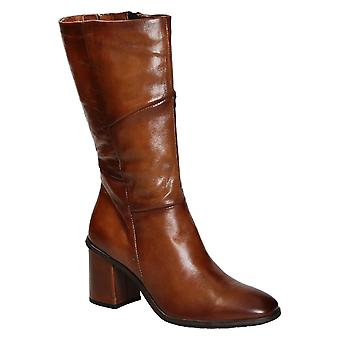 Heeled mid-calf boots in shiny tan leather