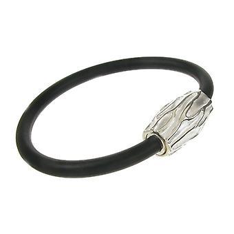 Cavendish français Sterling Silver et Black Rubber Sablé Bracelet
