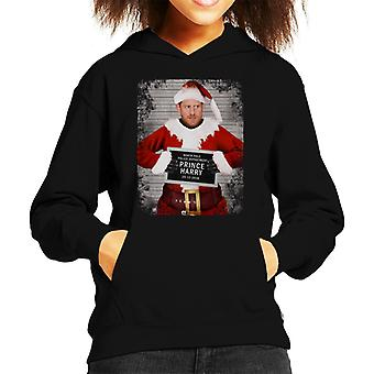 Christmas Mugshot Prince Harry Beard Kid's Hooded Sweatshirt