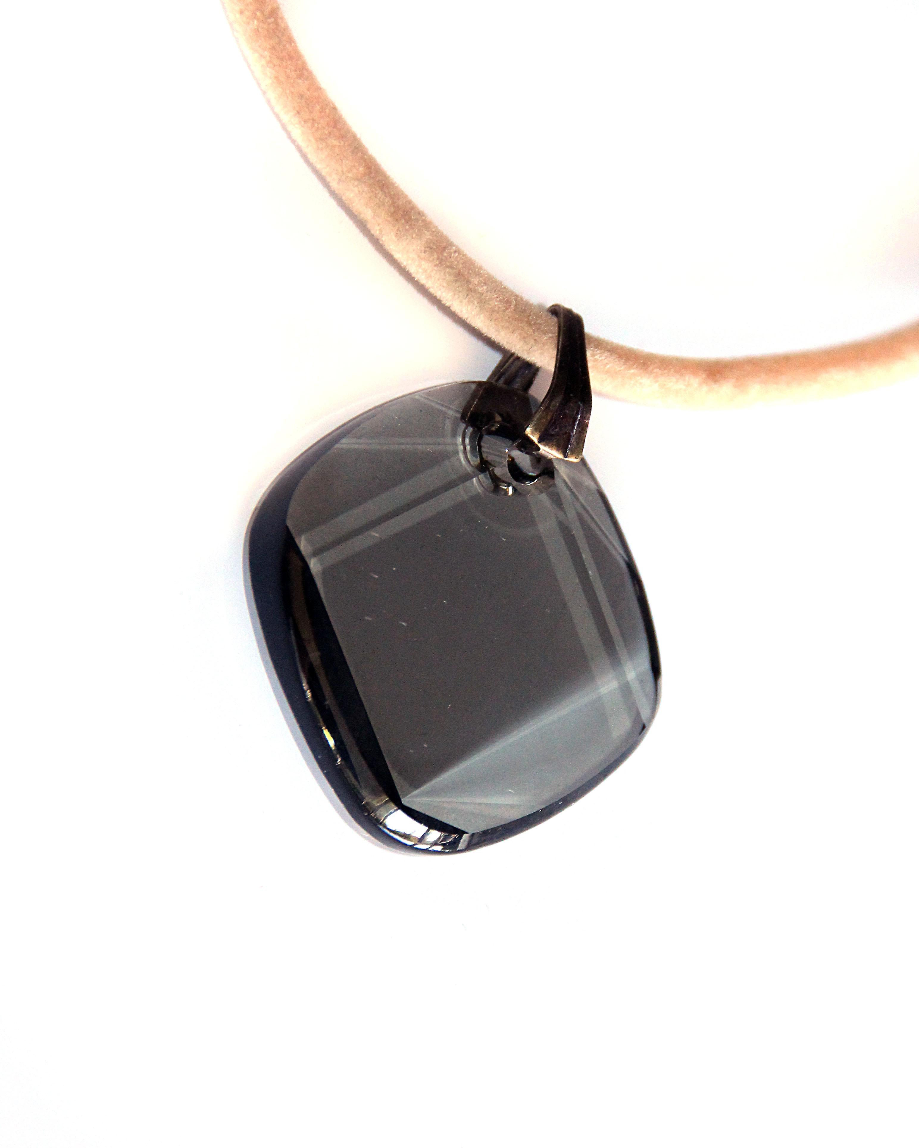 Waooh - Jewelry - Swarovski / transparent black opal pendant cord and velvet