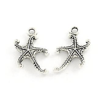 Paquete 30 x ZX16135 de encanto/colgante de estrella de mar antiguo plata tibetana 17mm