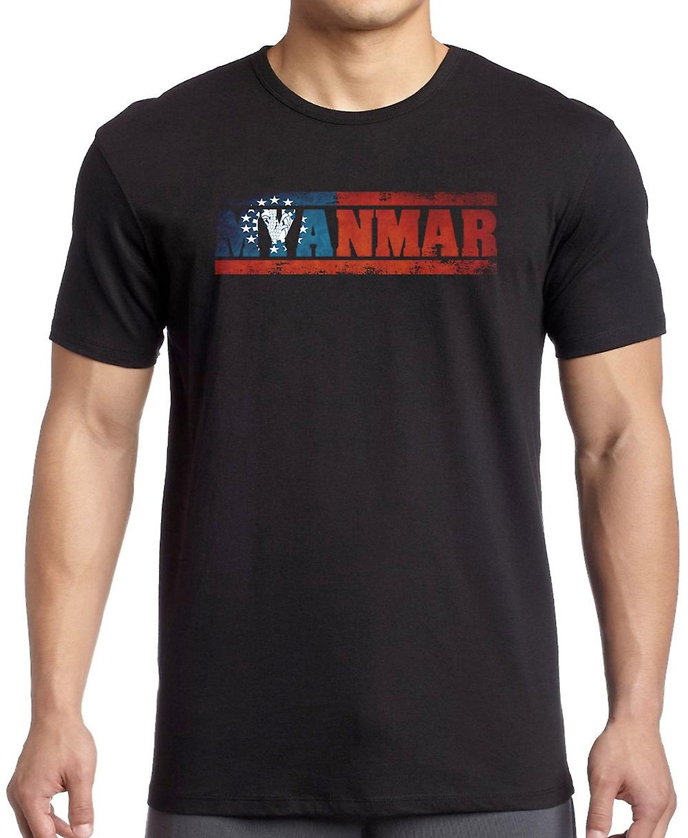 Myanmar Burma Burmese Flag - Words T Shirt