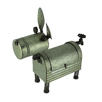 Cachorro de Metal galvanizado torneira cauda plantador exterior interior caixa escultura