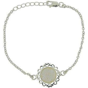 Jo For Girls Sterling Silver White Druzy Charm Bracelet 6.25+1