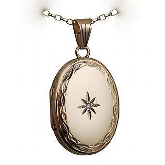 9ct Gold 27x20mm diamond set hand engraved edge oval Locket with a belcher chain