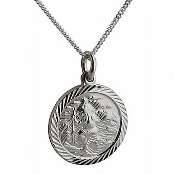 Silver 20mm round diamond cut edge St Christopher Pendant with a curb Chain 18 inches