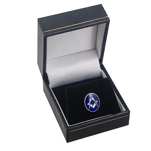 Silver 12x10mm oval cold cure enamel Masonic Tie Tack