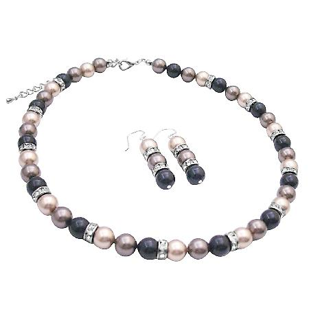 Spectacular Swarovski Pearls Trio Brown Black & Bronze Jewelry Set