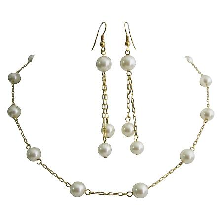 22k Gold Plated Swarovski Cream Pearls Handcrafted Necklace Set