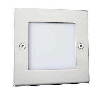 LED lys til indendørs og udendørs hvid og rustfrit stål firkantede Walkover - projektør 9907WH