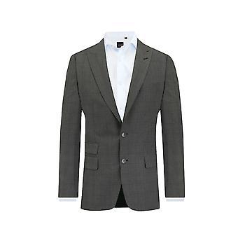 Dobell Mens Charcoal Suit Jacket Tailored Fit Peak Lapel Windowpane Check