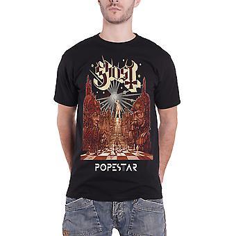 Ghost T Shirt Popestar band logo new Official Mens Black