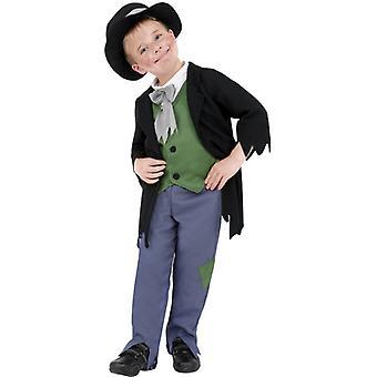 Dodgy vittoriano ragazzo costume bambini nero con top pants e cappello per bambini costume