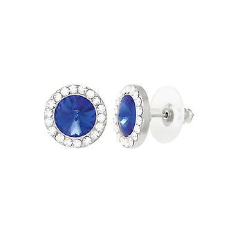 Eternal Collection Elfin Sapphire Blue Crystal Austrian Silver Tone Stud Pierced Earrings