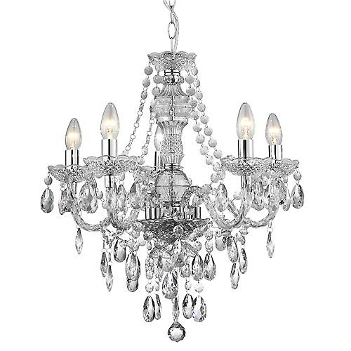 Searchlight 8885-5CL Marie Therese 5 Light Traditional Style Chandelier In Clear Acrylic