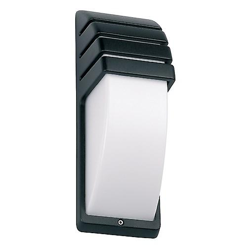 Endon EL-YG-7010 Black Aluminium Low Energy Outdoor Wall Light With Opal Lens