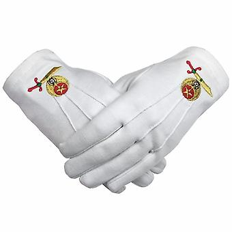 High Quality Masonic Shriner Emblem White Cotton Glove Masonic Glove