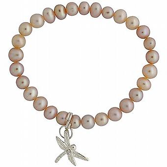 Jo For Girls Pink Freshwater Pearl & Dragon Fly Hanging Charm Bracelet 5