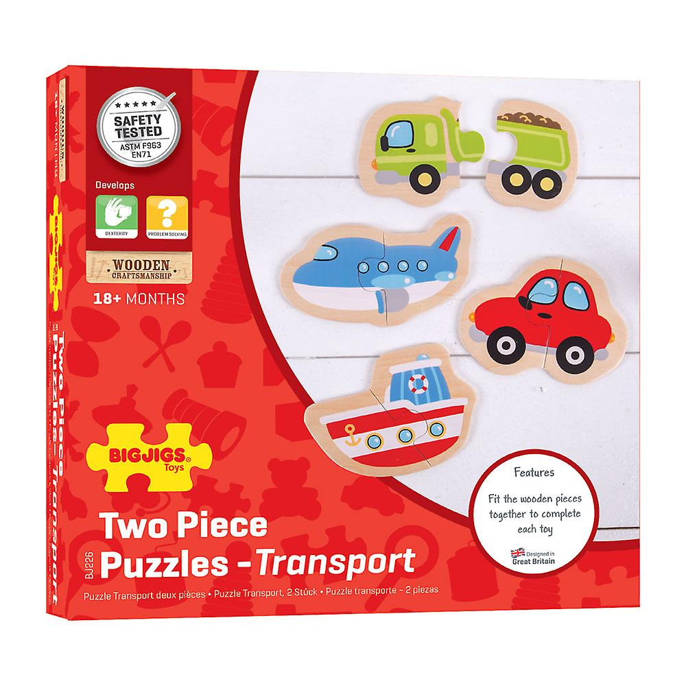 Bigjigs Toys Wooden Educational Two Piece Puzzles (Transport) Early Learn
